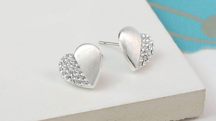 Crystal Heart Stud Earring