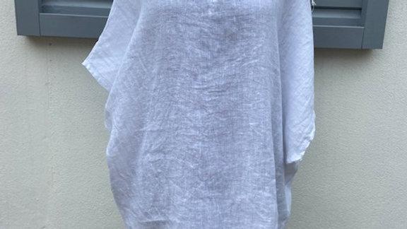 White Linen V Neck Tunic