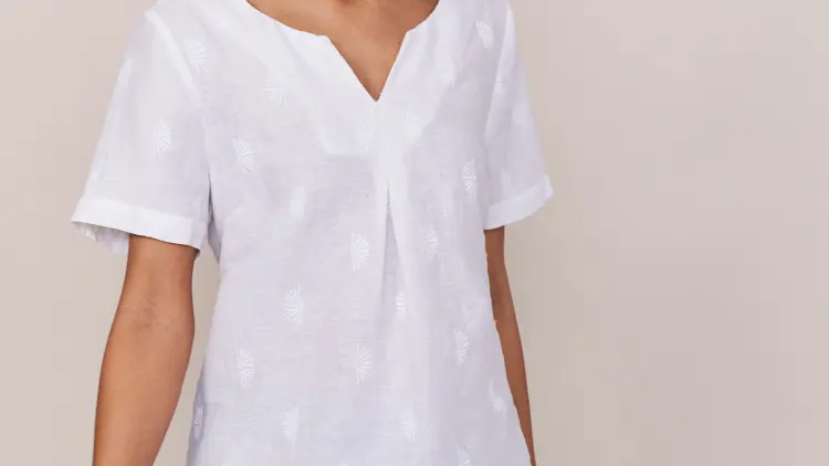 White Embroidered Linen Top