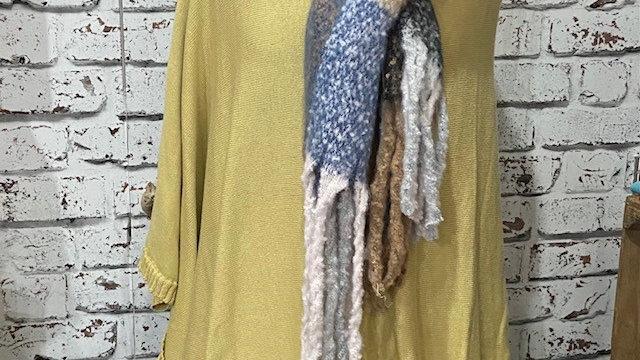 100% Cotton Fine Knit Poncho/Wrap with Pom Pom Edge