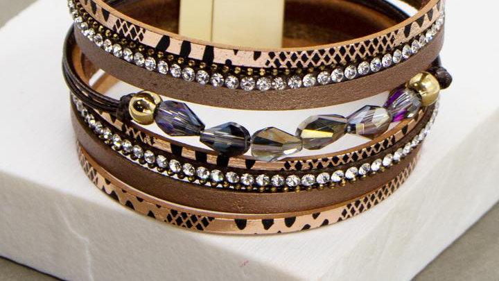 Animal Print Wide Multi Strand Bracelet