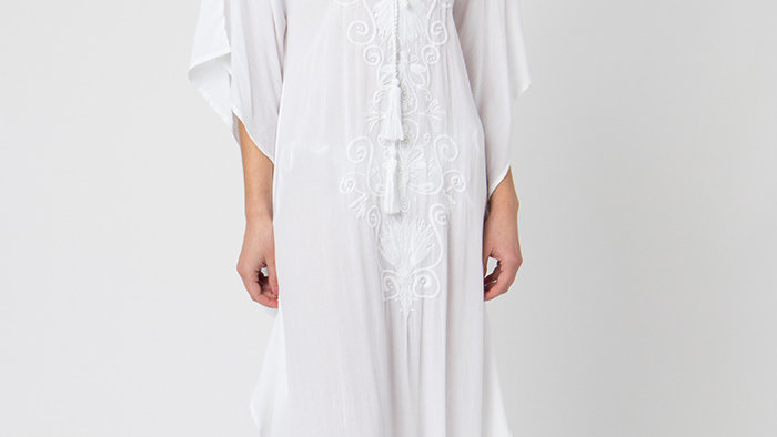 Embroidery and Beaded White Maxi Dress