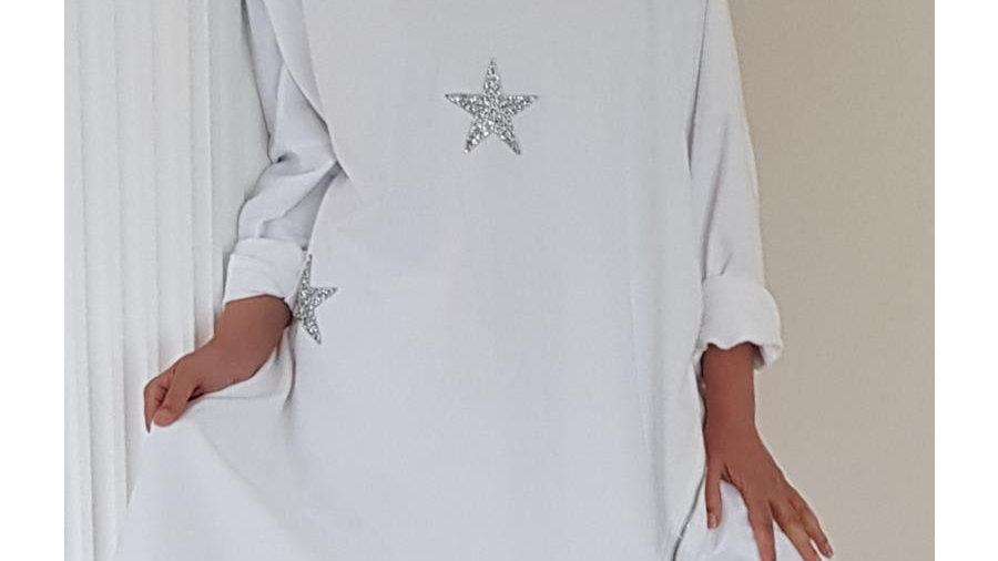 White 3 Star Hoodie Tunic