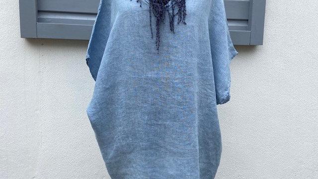 Denim Blue Linen V Neck Tunic