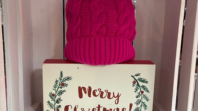Fushcia Pink, Fur Lined, Beanie Hat with Faux Fur Pom Pom