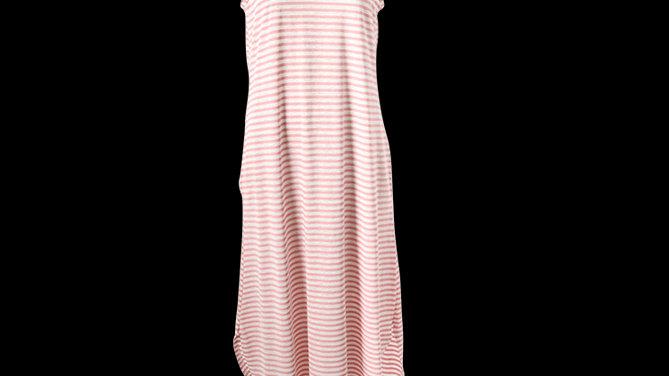 Pink Stripe Maxi Cotton Summer Dress