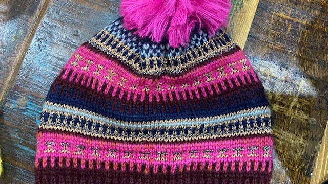 Pink & Burgundy Fairisle Knitted Hat With Faux Fur Pom Pom