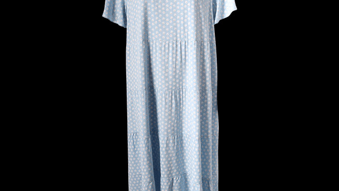 Daisy Print Tiered Summer Dress -Blue