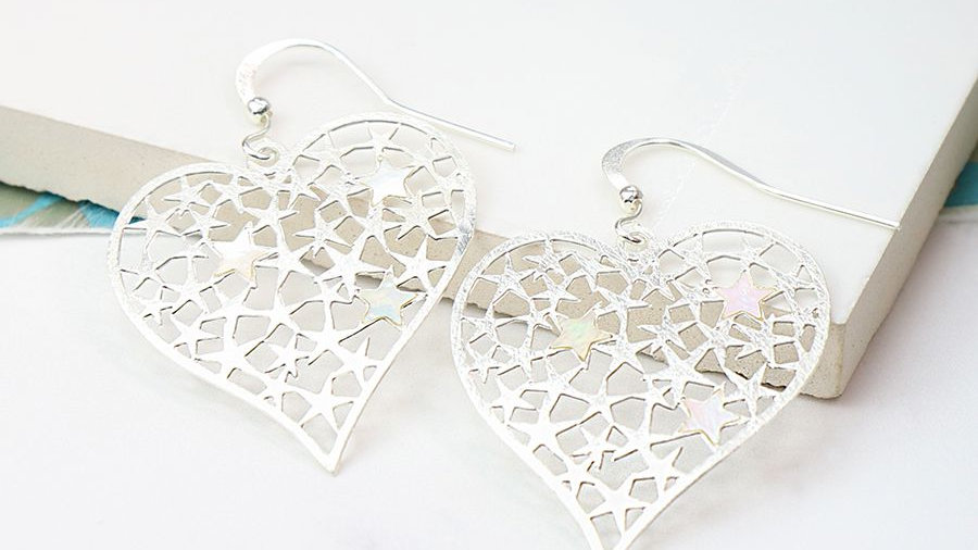 Heart Earring with Stars