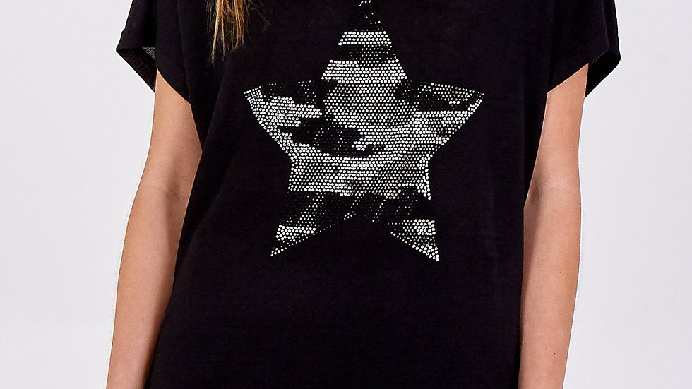 BlackTee with Sequin Star Logo