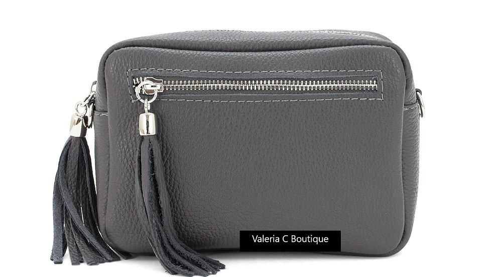 Real Leather Crossbody  Bag With Tassels  - Dark Grey