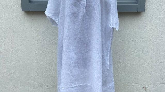 White Linen V Neck Dress