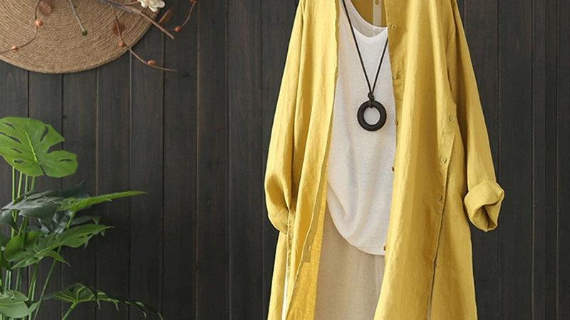 Mustard Cotton Long Shirt