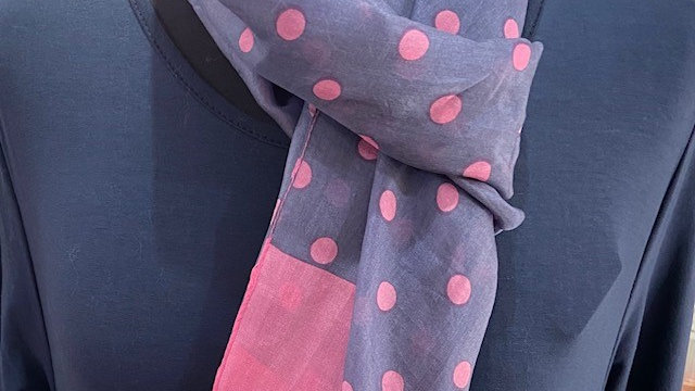 100% Silk Rectangle Pink Spotty Scarf