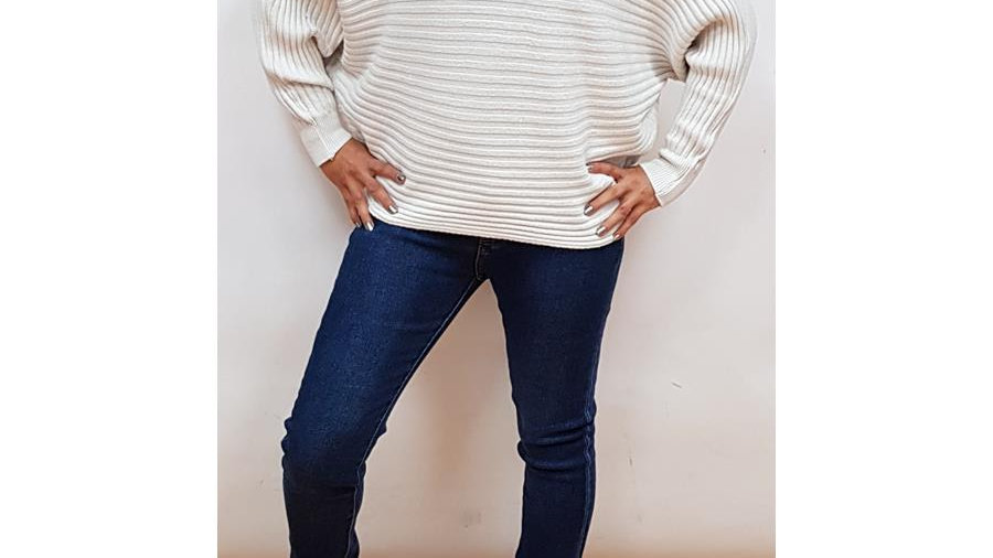 Comfy Ribbed Batwing Polo Jumper in Beige