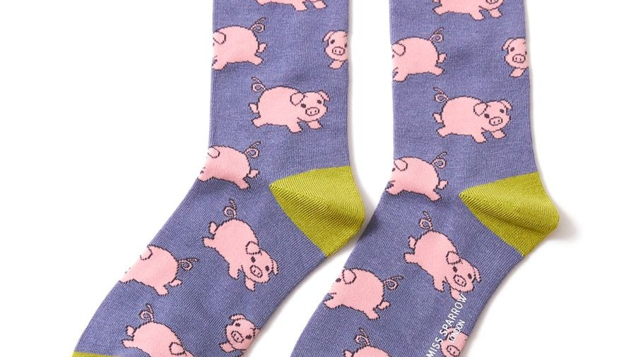 Pink Piggies Bamboo Socks