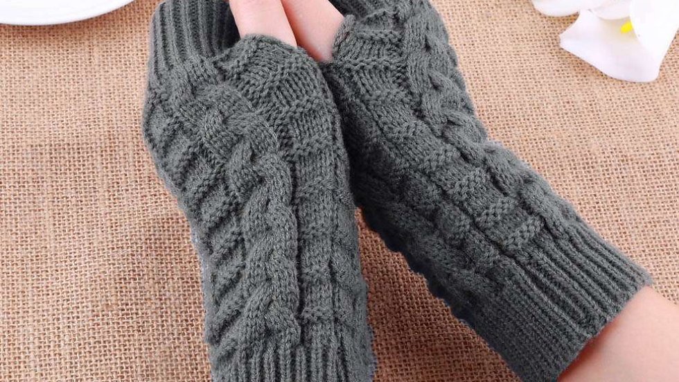 Fingerless Acrylic Knit Gloves