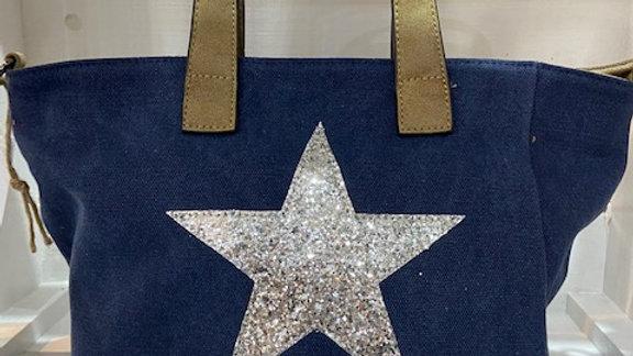 Silver Star Small Canvas Handbag (Vegan)