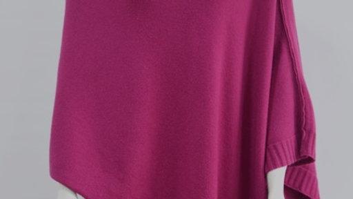 Plain Cerise Pink Knit Poncho/Wrap (last one left)