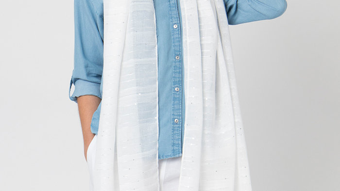 White Summer Scarf/Wrap with Sparkle Sequins