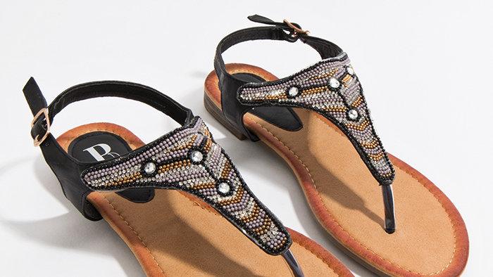 Egyptian Black and Silver Thong Sandal