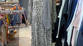 Grey Animal Print Smock Dress