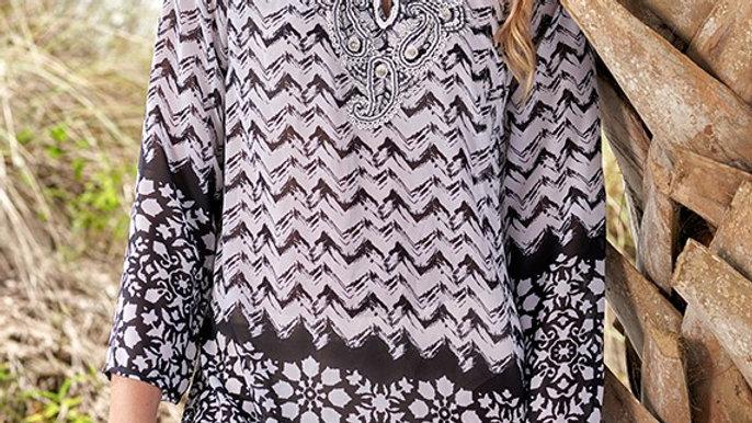 Black & White Embellished Tunic
