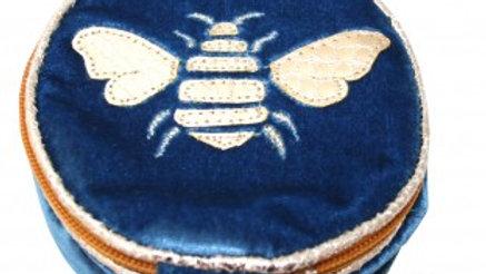 Blue Gold Bee Jewellery Bag