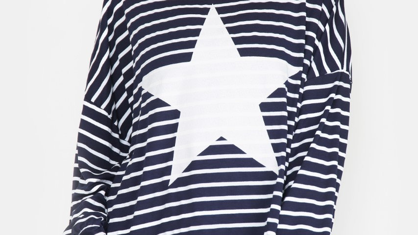Navy & White Stripe Cotton Top with White Star Logo