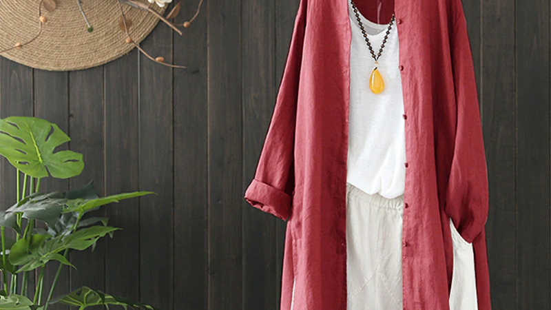 Dark Red Cotton Long Shirt