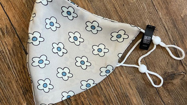 Grey with Blue Spot Daisy Patterned Face Covering