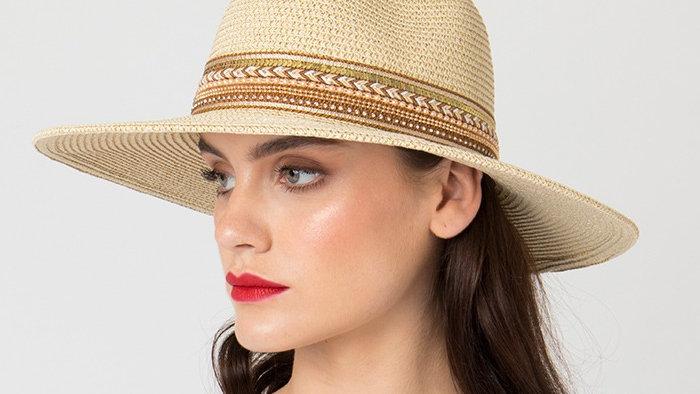 Medium Brim Straw Boater Summer Hat with Embroidered Braid
