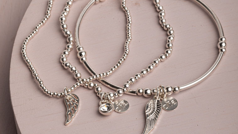 Angel Wings Silver Trio Bracelet