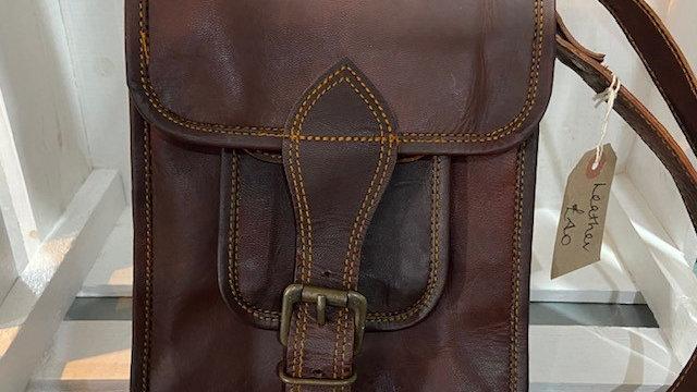 Slim Brown Leather Cross Body Bag