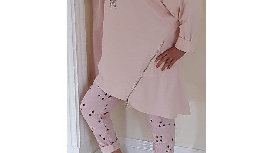 Blush Pink 3 Star Hoodie Tunic