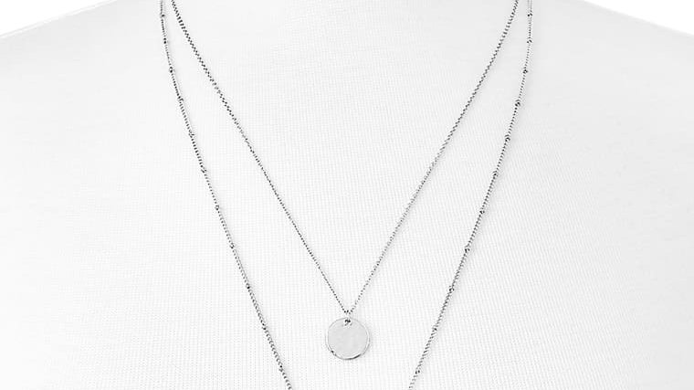 Silver Hammered Coin Necklace