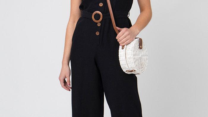 Black Button Linen Blend Jumpsuit
