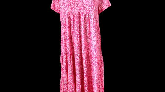Tiered V Neck Summer Dress - Pink