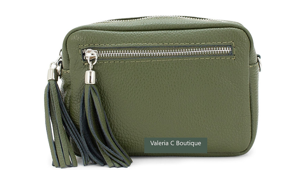 Real Leather Crossbody  Bag With Tassels  - Olive Green