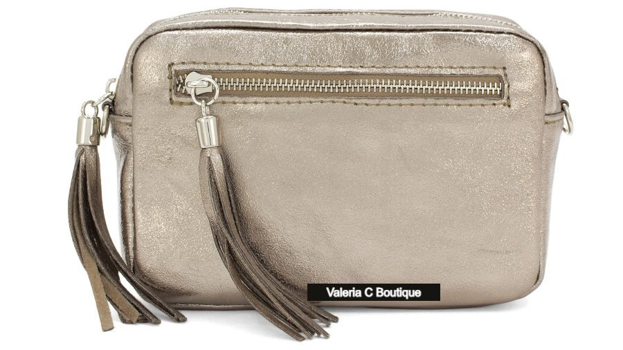 Real Leather Crossbody  Bag With Tassels  - Metallic Bronze