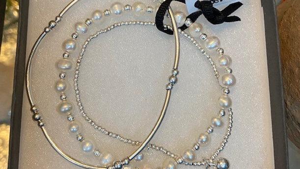 Pearls & Hearts Trio Silver Bracelet