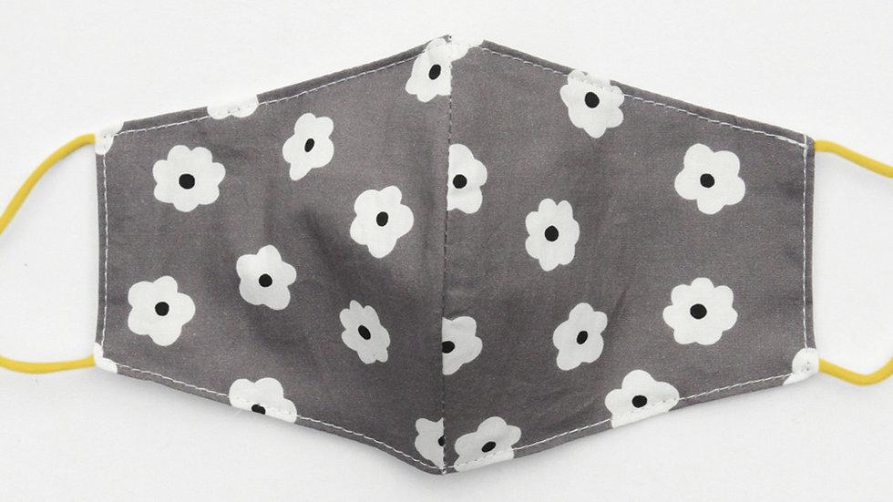 Grey Daisy Designer Print Face Cover