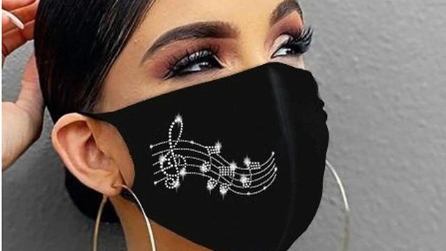Black Diamante Face Covering (Assorted Designs)