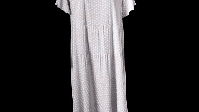 Daisy Print Tiered Summer Dress -White