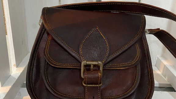 Small Satchel Brown Leather Cross Body Bag