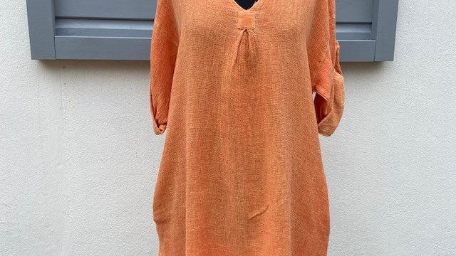 Orange Honeycomb V Neck Tunic