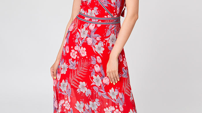 Floral Red Cross over Chiffon Maxi Dress