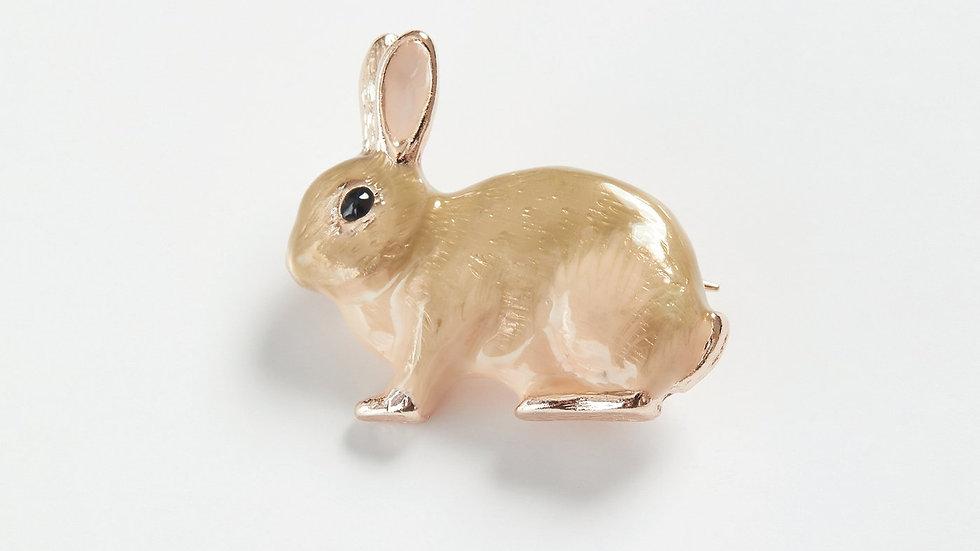 Enamel Rabbit Brooch