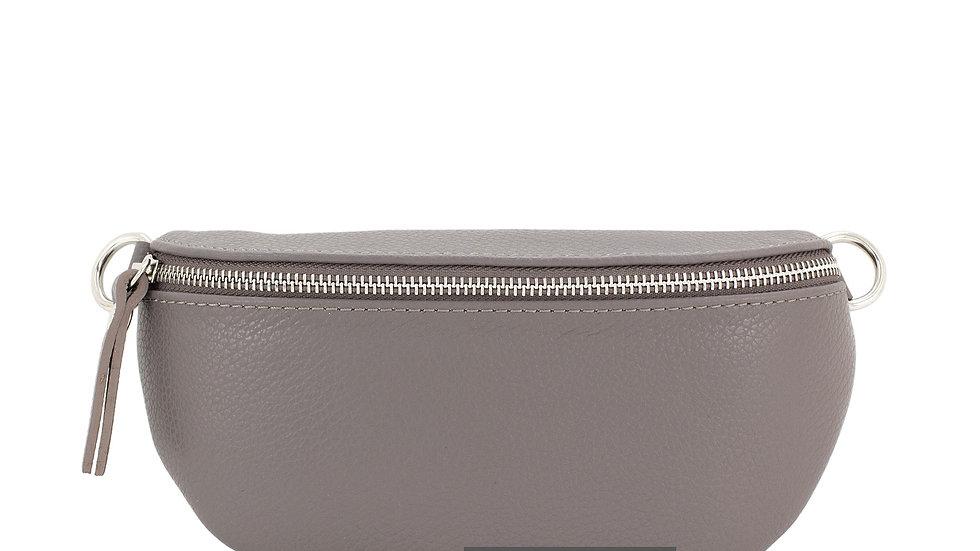 Real Leather Belt Bag - Grey