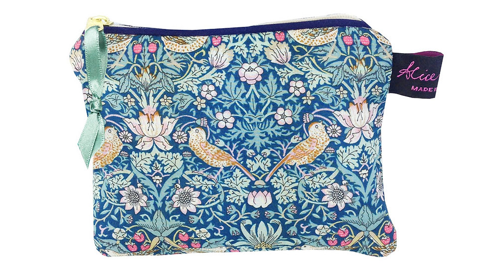 Small Coin Purse in Liberty Print Strawberry Thief Forest
